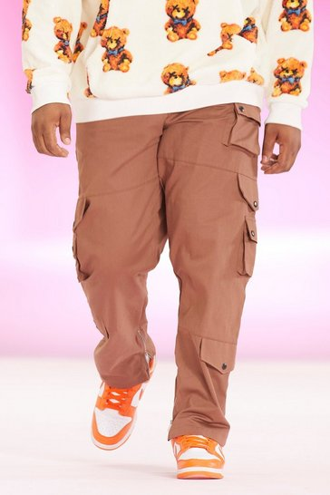 Rust orange Plus Relaxed Fit Twill Cargo Trouser