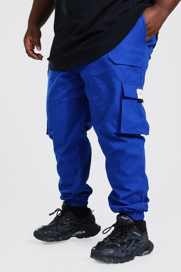 Cobalt blue Plus Twill Belt Front Cargo Jogger With Tab