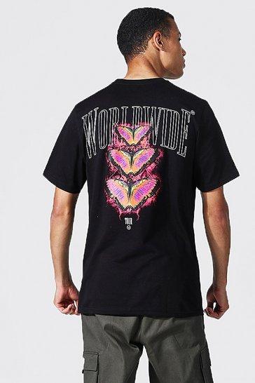 Black Tall Worldwide Butterfly T-shirt