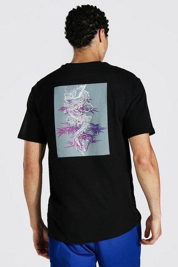 Black Tall Dragon Back Print Graphic T-shirt