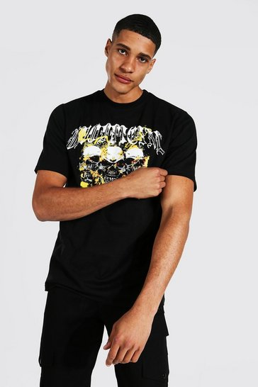 Black Tall Unofficial Skull T-shirt With Back Print