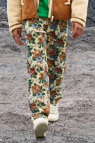 Sand beige Relaxed Fit Floral Tapestry Jeans