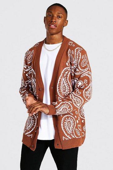 Rust orange Bandana Knitted Cardigan