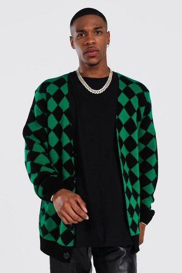 Green Retro Diamond Knitted Cardigan