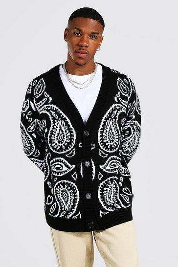 Black Bandana Knitted Cardigan