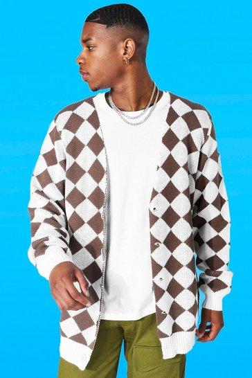 Taupe beige Retro Diamond Knitted Cardigan