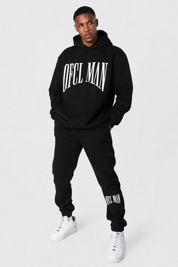 Black Oversized Ofcl Man Printed Hooded Tracksuit