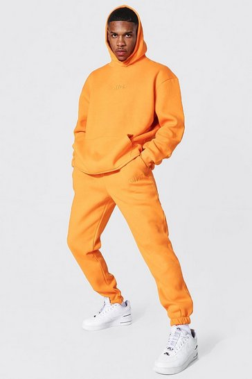 Orange Oversized Offcl Embroidered Hooded Tracksuit