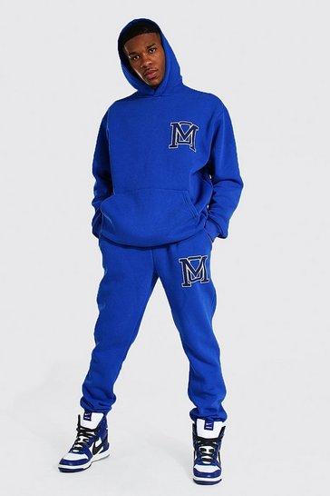Cobalt blue Oversized Varsity Print Hooded Tracksuit