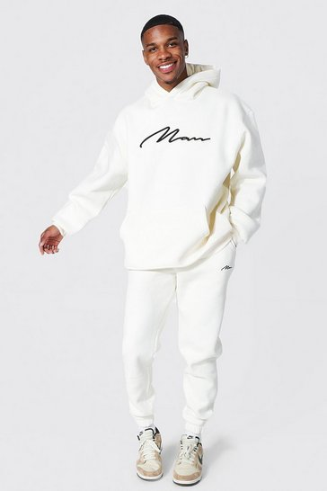 Ecru white Oversized 3d Man Embroidered Hooded Tracksuit