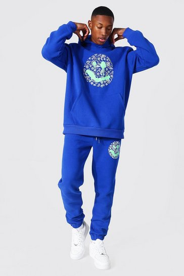 Cobalt blue Oversized Paisley Drip Face Hooded Tracksuit