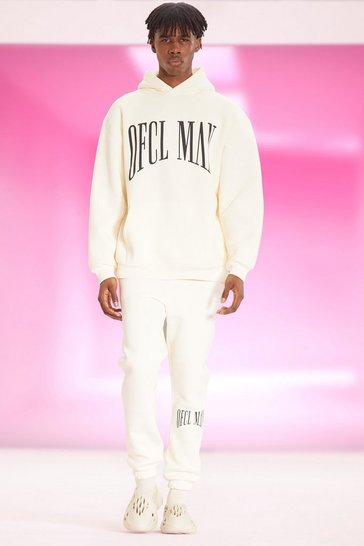 Ecru white Oversized Ofcl Man Printed Hooded Tracksuit
