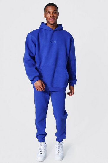 Cobalt blue Oversized Offcl Embroidered Hooded Tracksuit