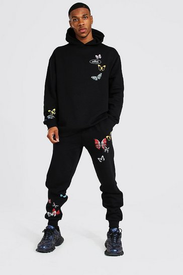 Black Oversized Offcl Butterfly Hooded Tracksuit
