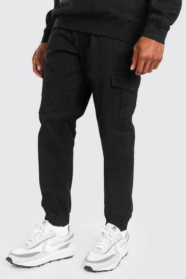 Black Regular Fit Twill Cargo Trouser