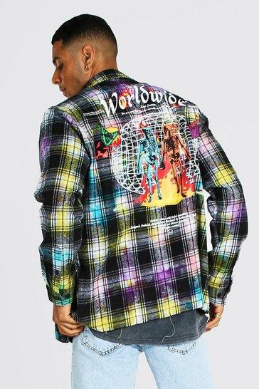 Multi Tie Dye Worldwide Back Print Check Shirt