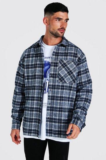 Navy Oversized Check Shirt