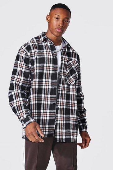Black Oversized Check Shirt