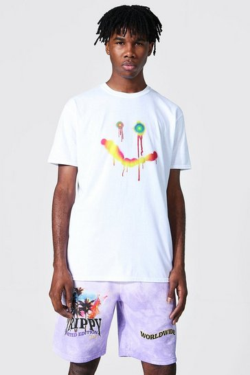 White Oversized Drip Face Graphic T-shirt
