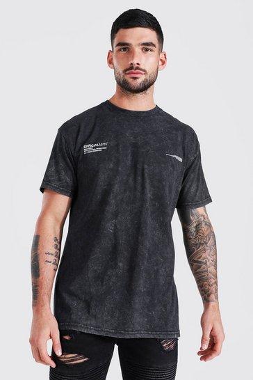 Charcoal grey Oversized Palm Back Graphic Acid Wash T-shirt