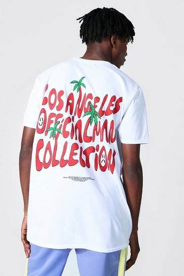White Oversized Los Angeles Palm Graphic T-shirt