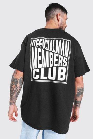 Black Oversized Man Members Club Back Print T-shirt