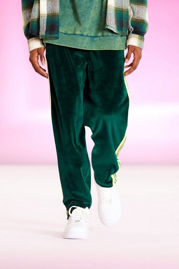 Forest green Original Man Relaxed Velour Striped Jogger