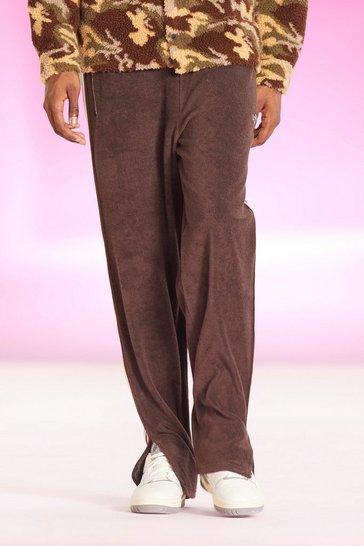 Chocolate brown Loose Fit Official Split Hem Towel Jogger