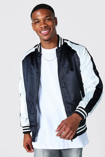 Black Satin Bomber With Back Embroidery