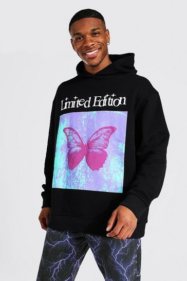Black Oversized Limited Edition Butterfly Hoodie