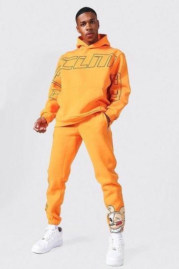 Orange Oversized Ofcl Man Teddy Hooded Tracksuit