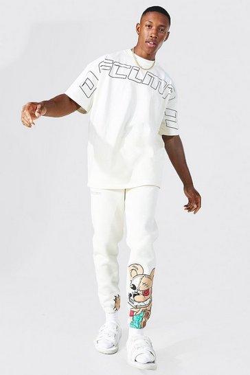 Ecru white Oversized Ofcl Man Teddy T-shirt Tracksuit