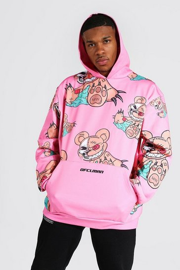 Pink Oversized All Over Teddy Print Hoodie