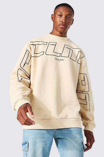 Sand beige Oversized Ofcl Man Teddy Graphic Sweatshirt