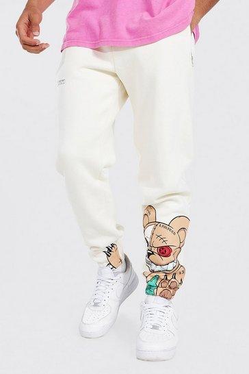 Ecru white Regular Fit Teddy Graphic Joggers