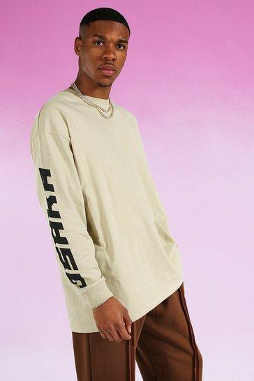 Sand beige Oversized Osaka Graphic Long Sleeve T-shirt