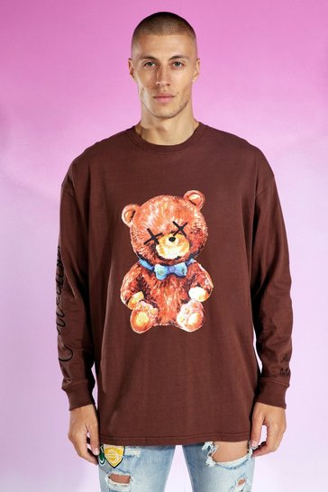 Chocolate brown Oversized Teddy Collection Ls T-shirt