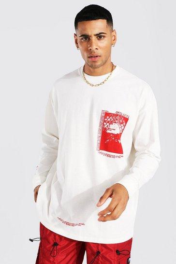 Ecru white Oversized Ofcl Man Graphic Ls T-shirt