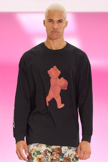 Black Oversized Limited Teddy Long Sleeve T-shirt