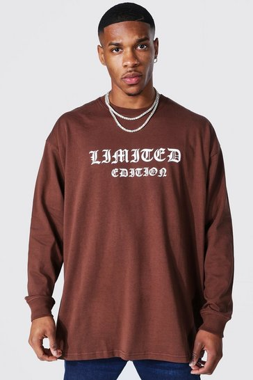 Chocolate brown Oversized Limited Edition Long Sleeve T-shirt