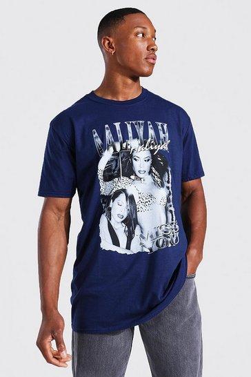 Navy Oversized Aaliyah License T-shirt