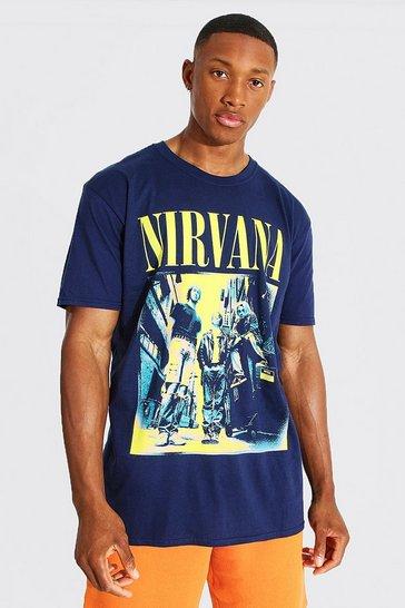 Navy Oversized Nirvana License T-shirt