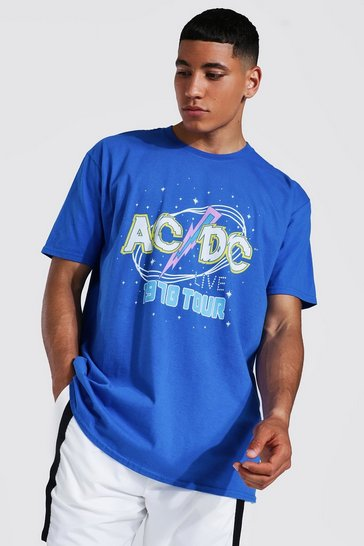 Blue Oversized Acdc Tour License T-shirt