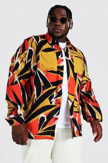 Orange Plus Abstract Leaf Viscose Shirt