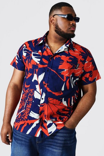 Navy Plus Short Sleeve Leaf Print Shirt