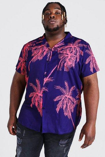 Purple Plus Short Sleeve Palm Print Shirt