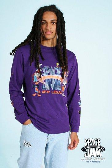Purple Space Jam Long Sleeve Print License T-shirt