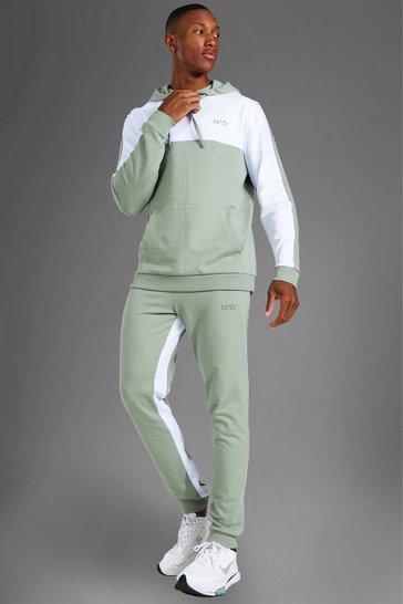 Sage green Man Active Colour Block Hoodie Tracksuit