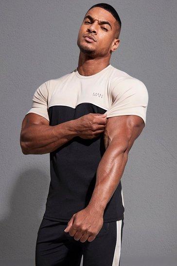 Black Man Active Colour Block T-shirt