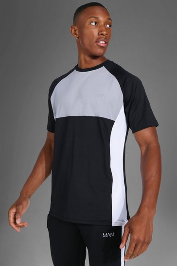 Black Man Active Colour Block Raglan T-shirt